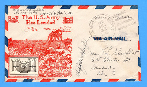 "Chaplain's Free Mail 355th AAA Searchlight Bn. APO 758 Palermo, Sicily Cancelled APO 529 Bizerte, Tunisia ""The U.S. Army Has Landed"" August 23, 1943 - Crosby Patriotic Cover"