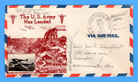 "Chaplain's Free Mail 355th AAA Searchlight Bn. APO 758 Palermo, Sicily Cancelled APO 529 Bizerte, Tunisia ""The U.S. Army Has Landed"" August 20, 1943 - Crosby Patriotic Cover"