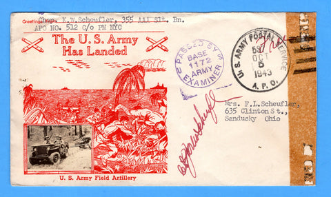 "Chaplain's Censored Free Mail 355th AAA Searchlight Bn. APO 512 Algiers, Algeria Cancelled APO 537 Bizerte, Tunisia ""The U.S. Army Has Landed"" October 5, 1943 - Crosby Patriotic Cover"