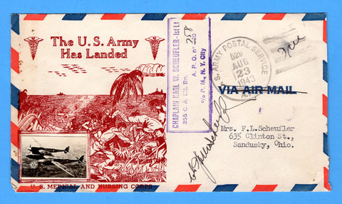 "Chaplain's Censored Free Mail 355th C.A. Searchlight Bn. APO 758 Palermo, Sicily Cancelled APO 537 Bizerte, Tunisia ""The U.S. Army Has Landed"" August 23, 1943 - Crosby Patriotic Cover"