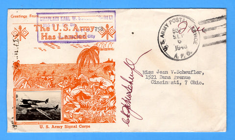 "Chaplain's Censored Free Mail 355th C.A. Searchlight Bn. APO 758 Palermo, Sicily Cancelled APO 537 Bizerte, Tunisia ""The U.S. Army Has Landed"" September 6, 1943 - Crosby Patriotic Cover"