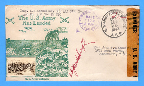 "Chaplain's Censored Free Mail 355th AAA Searchlight Bn. APO 758 Palermo, Sicily Cancelled APO 537 Bizerte, Tunisia ""The U.S. Army Has Landed"" September 29, 1943 - Crosby Patriotic Cover"