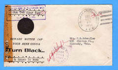 "Army Chaplain's Free Mail APO 512 Algeria ""Beware Mister Jap"" October 16, 1943"
