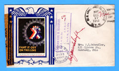 "Army Chaplain's Free Mail APO 512 Algiers, Algeria, Cancelled APO 537 Bizerte, Tunisia ""Fight is Out on this Line"" December 17, 1943 - Patriotic Cover by Artists for Victory"