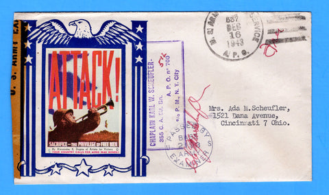 "Army Chaplain's Free Mail APO 512 Algiers, Algeria, Cancelled APO 537 Bizerte, Tunisia ""ATTACK!"" December 16, 1943 - Patriotic Cover by Artists for Victory"
