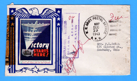 "Army Chaplain's Free Mail APO 512 Algiers, Algeria, Cancelled APO 537 Bizerte, Tunisia ""Victory Starts Here"" December 19, 1943 - Patriotic Cover by Artists for Victory"