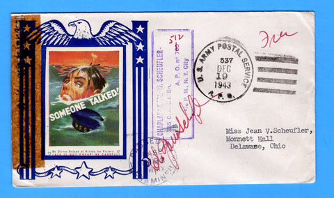 "Army Chaplain's Free Mail APO 512 Algiers, Algeria, Cancelled APO 537 Bizerte, Tunisia ""Someone Talked"" December 19, 1943 - Patriotic Cover by Artists for Victory"
