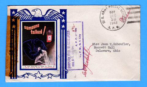 "Army Chaplain's Free Mail APO 512 Algiers, Algeria, Cancelled APO 537 Bizerte, Tunisia ""Someone Talked"" December 16, 1943 - Patriotic Cover by Artists for Victory"