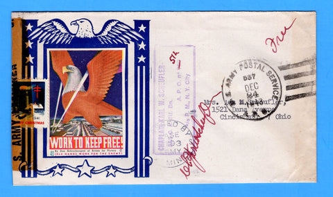 "Army Chaplain's Free Mail APO 512 Algiers, Algeria, Cancelled APO 537 Bizerte, Tunisia ""Work to Keep Free!"" December 24, 1943 - Patriotic Cover by Artists for Victory"