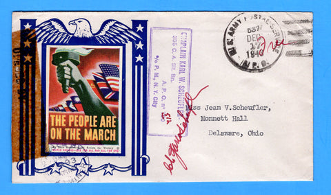 "Army Chaplain's Free Mail APO 512 Algiers, Algeria, Cancelled APO 537 Bizerte, Tunisia ""The People are on the March"" December 17, 1943 - Patriotic Cover by Artists for Victory"