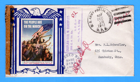 "Army Chaplain's Free Mail APO 512 Algiers, Algeria, Cancelled APO 537 Bizerte, Tunisia ""The People are on the March"" December 18, 1943 - Patriotic Cover by Artists for Victory"