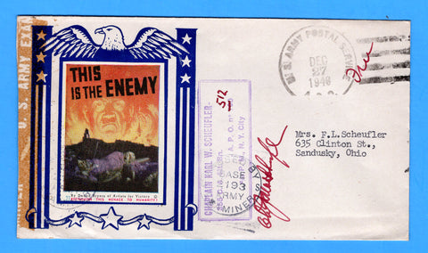"Army Chaplain's Free Mail APO 512 Algiers, Algeria ""This is the Enemy"" December 27, 1943 - Patriotic Cover by Artists for Victory"
