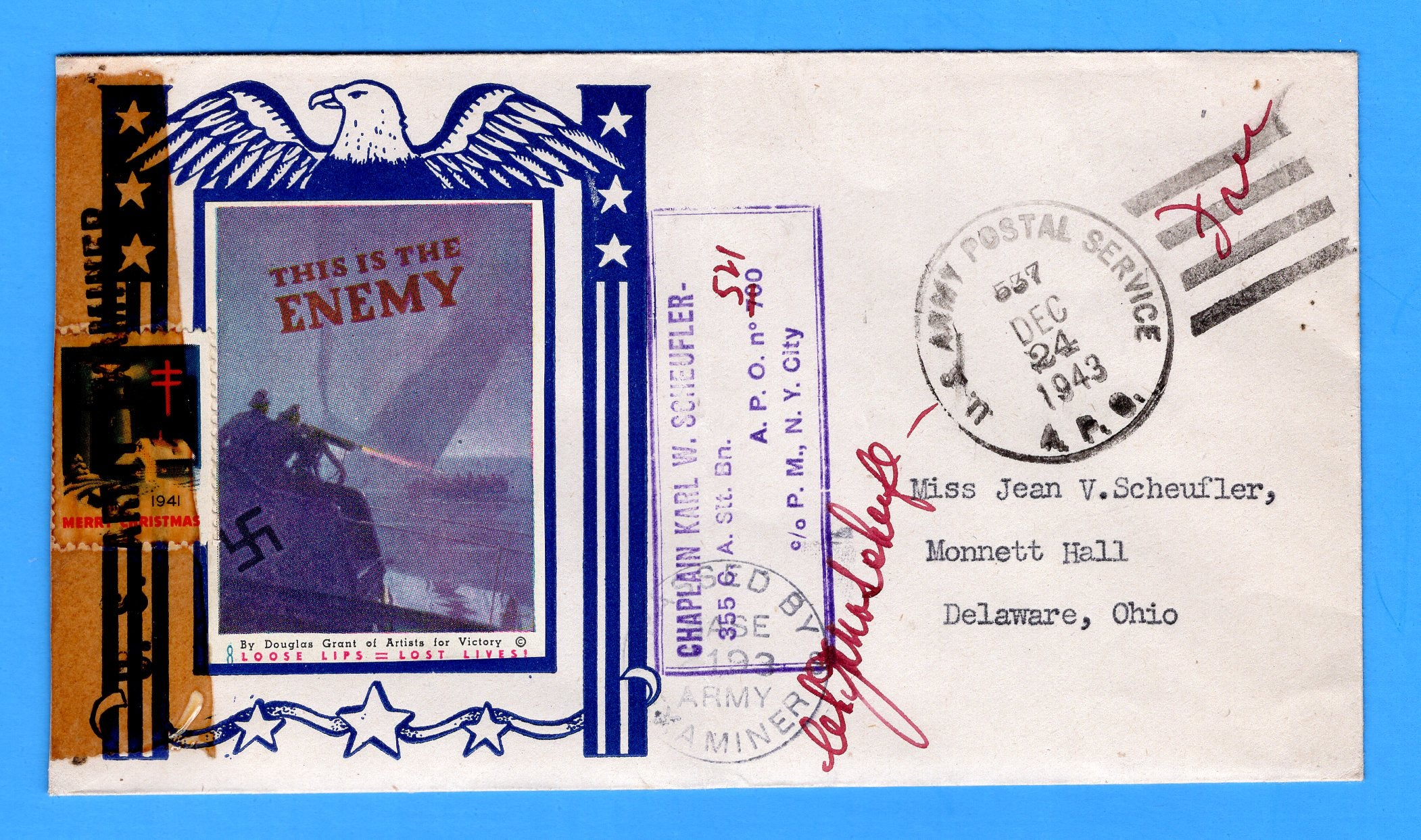 "Army Chaplain's Free Mail APO 521 Naples, Italy, Cancelled APO 537 Bizerte, Tunisia ""This is the Enemy"" December 24, 1943 - Patriotic Cover by Artists for Victory"
