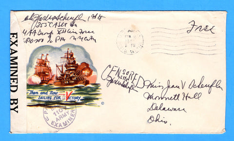 "Soldier's Censored Free Mail 355th C.A. Searchlight Bn. APO 700 Algiers, Algeria ""Sailing for Victory"" February 10, 1943 Minkus Patriotic"