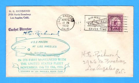 USS Macon ZRS-5 Los Angeles, California November 15, 1933 - Mellone 11/15/33-1 - Cachet by Los Angeles Cover Club - Catalog Value $40.00