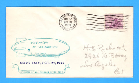 USS Macon ZRS-5 Los Angeles, California October 27, 1933 - Mellone 10/27/33-2 - Cachet by Los Angeles Cover Club - Only 120 Copies Made - Catalog Value $50.00