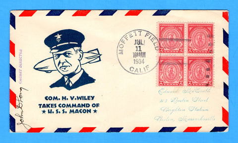 USS Macon ZRS-5 Moffett Field July 11, 1934 - Mellone 7/11/34-3.8 - Cachet by J.D. Long - Only 172 Copies Made - Catalog Value $25.00