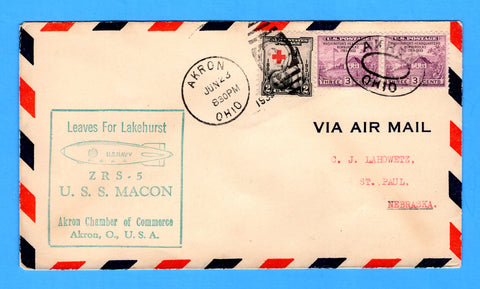 USS Macon ZRS-5 Leaves for Lakehurst, Akron, Ohio June 23, 1933 - Mellone 6/23/33-1 - Cachet by Akron Chamber of Commerce - Catalog Value $15.00