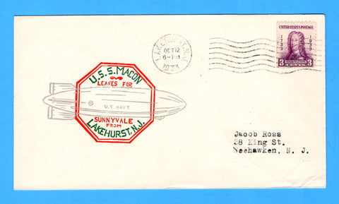 USS Macon ZRS-5 Lakehurst, N.J. October 12, 1933 - Mellone 10/12/33-2 - Cachet by H.V. Grant - Catalog Value $20.00
