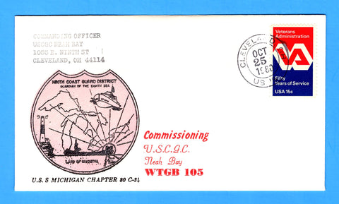 USCGC Biscayne Bay WTGB-104 First Anniversary of Commissioning December 8, 1980 - Cachet by USS Michigan Chapter 80, USCS