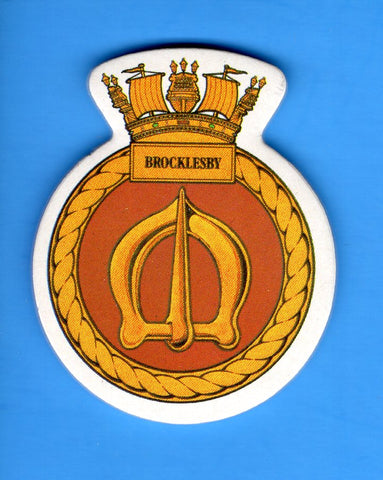 "HMS Brocklesby Foam Insignia with Peel off Back 1 7/8""W x 2 1/4""H"