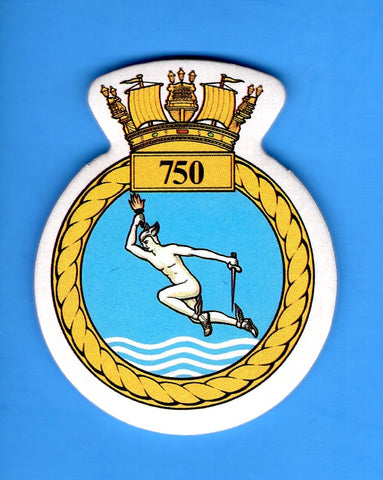 "Royal Navy Naval Air Squadron 750 Foam Insignia with Peel off Back 1 7/8""W x 2 1/4""H"