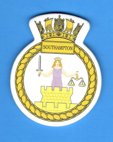 "HMS Southampton Foam Insignia with Peel off Back 1 7/8""W x 2 1/4""H"