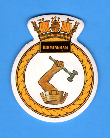 "HMS Birmingham Foam Insignia with Peel off Back 1 7/8""W x 2 1/4""H"