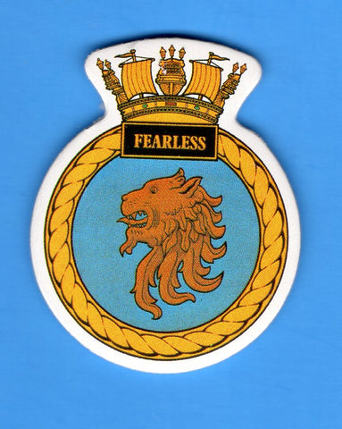 "HMS Fearless Foam Insignia with Peel off Back 1 7/8""W x 2 1/4""H"