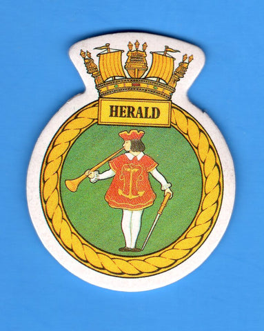 "HMS Herald Foam Insignia with Peel off Back 1 7/8""W x 2 1/4""H"
