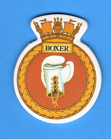 "HMS Boxer Foam Insignia with Peel off Back 1 7/8""W x 2 1/4""H"