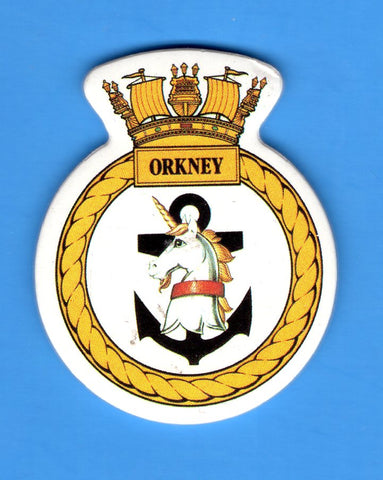 "HMS Orkney Foam Insignia with Peel off Back 1 7/8""W x 2 1/4""H"
