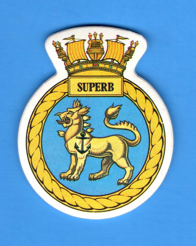 "HMS Superb Foam Insignia with Peel off Back 1 7/8""W x 2 1/4""H"