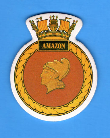 "HMS Amazon Foam Insignia with Peel off Back 1 7/8""W x 2 1/4""H"