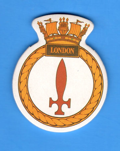 "HMS London Foam Insignia with Peel off Back 1 7/8""W x 2 1/4""H"