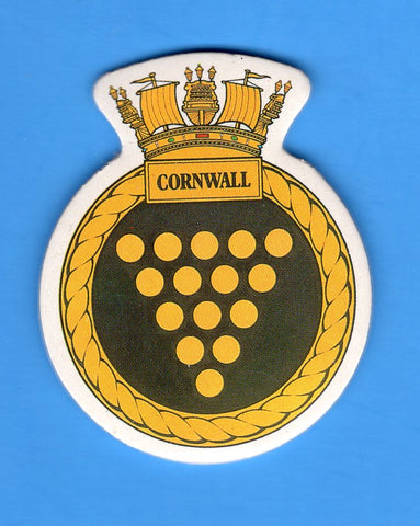 "HMS Cornwall Foam Insignia with Peel off Back 1 7/8""W x 2 1/4""H"