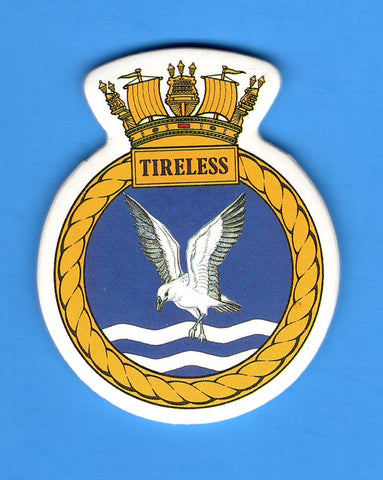"HMS Tireless Foam Insignia with Peel off Back 1 7/8""W x 2 1/4""H"
