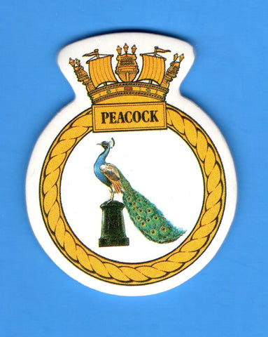 "HMS Peacock Foam Insignia with Peel off Back 1 7/8""W x 2 1/4""H"
