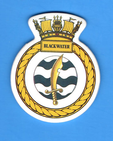 "HMS Blackwater Foam Insignia with Peel off Back 1 7/8""W x 2 1/4""H"
