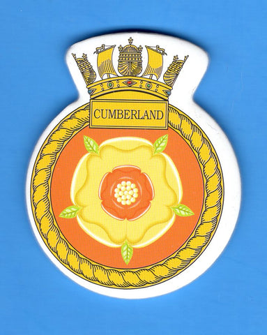 "HMS Cumberland Foam Insignia with Peel off Back 1 7/8""W x 2 1/4""H"
