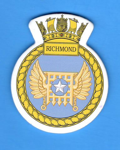 "HMS Richmond Foam Insignia with Peel off Back 1 7/8""W x 2 1/4""H"