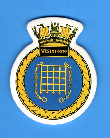 "HMS Westminster Foam Insignia with Peel off Back 1 7/8""W x 2 1/4""H"