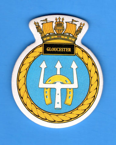 "HMS Gloucester Foam Insignia with Peel off Back 1 7/8""W x 2 1/4""H"