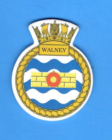 "HMS Walney Foam Insignia with Peel off Back 1 7/8""W x 2 1/4""H"