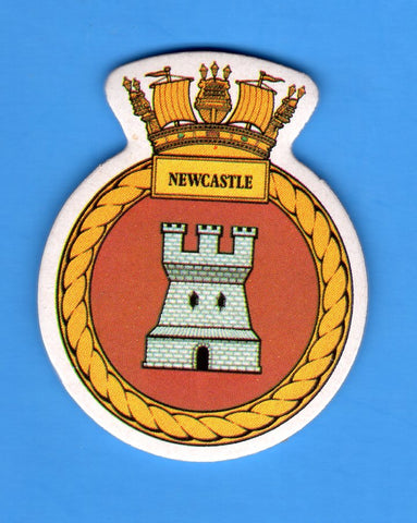 "HMS Newcastle Foam Insignia with Peel off Back 1 7/8""W x 2 1/4""H"