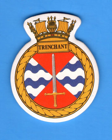 "HMS Trenchant Foam Insignia with Peel off Back 1 7/8""W x 2 1/4""H"