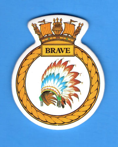 "HMS Brave Foam Insignia with Peel off Back 1 7/8""W x 2 1/4""H"