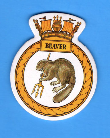 "HMS Beaver Foam Insignia with Peel off Back 1 7/8""W x 2 1/4""H"