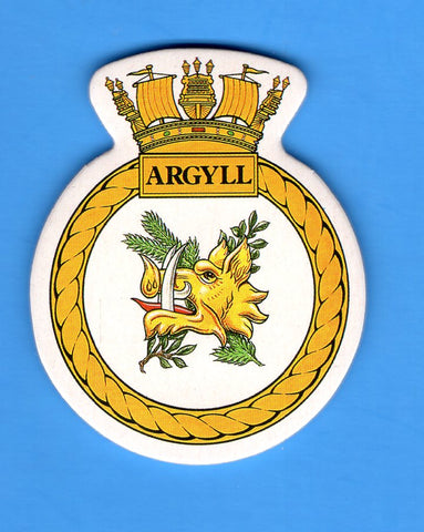 "HMS Argyll Foam Insignia with Peel off Back 1 7/8""W x 2 1/4""H"
