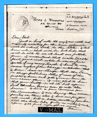 Sailor's V Mail USS Weehawken CM-12 (Originally SS Estrada Palma - a car ferry) September 26, 1943
